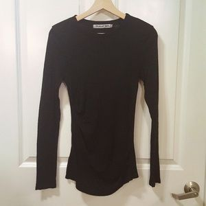 Michael Stars Black Long Sleeve Ruched Top
